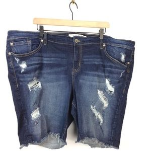 Torrid jean shorts with frayed hem